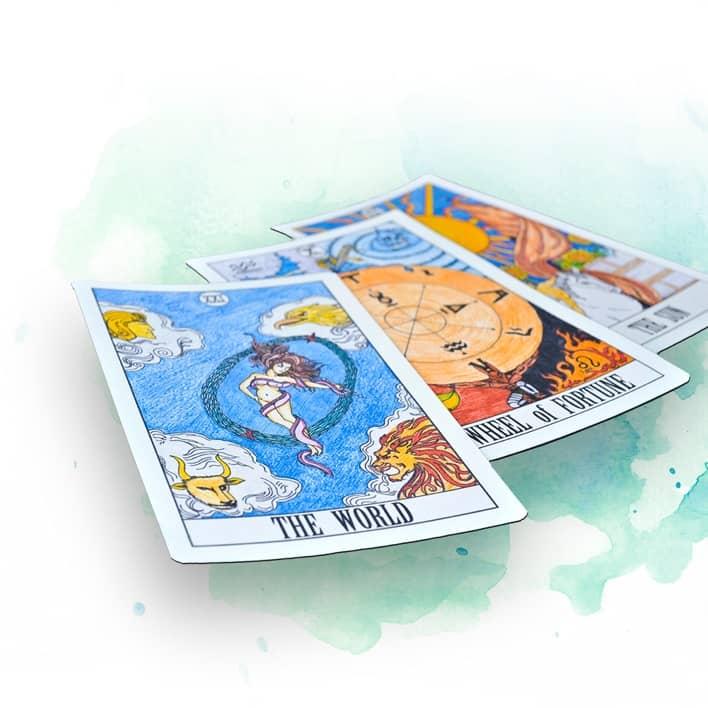 Bg Tarotkarten Auf Aquarell